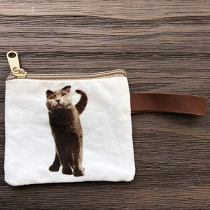 Canvas zippered card pouch with cat print